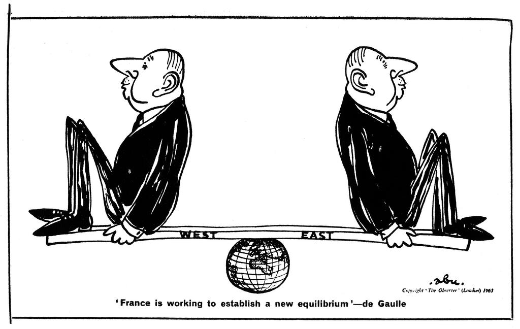 Cartoon by Abu on De Gaulle and French foreign policy (23 May 1965)