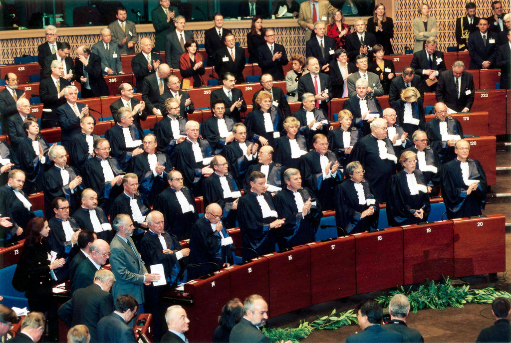 The judges at the inauguration ceremony of the new European Court of Human Rights (Strasbourg, 3 November 1998)