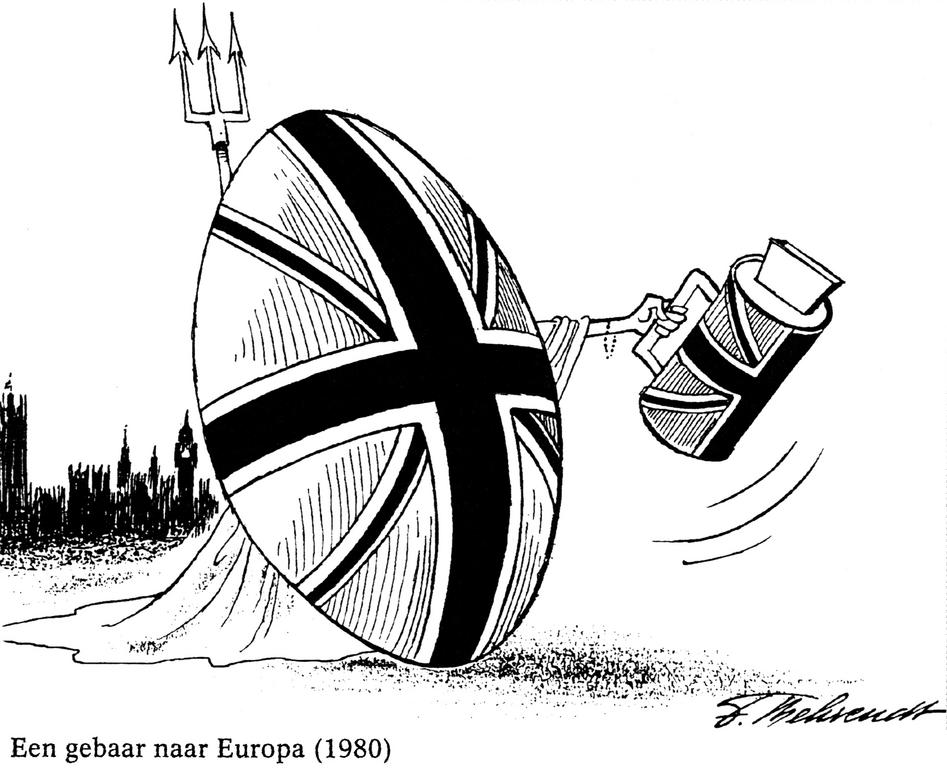 Cartoon by Behrendt on the British contribution to the Community budget (1980)