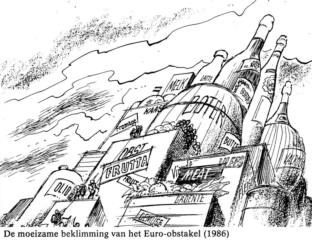 Cartoon by Behrendt on overproduction within the CAP (1986)