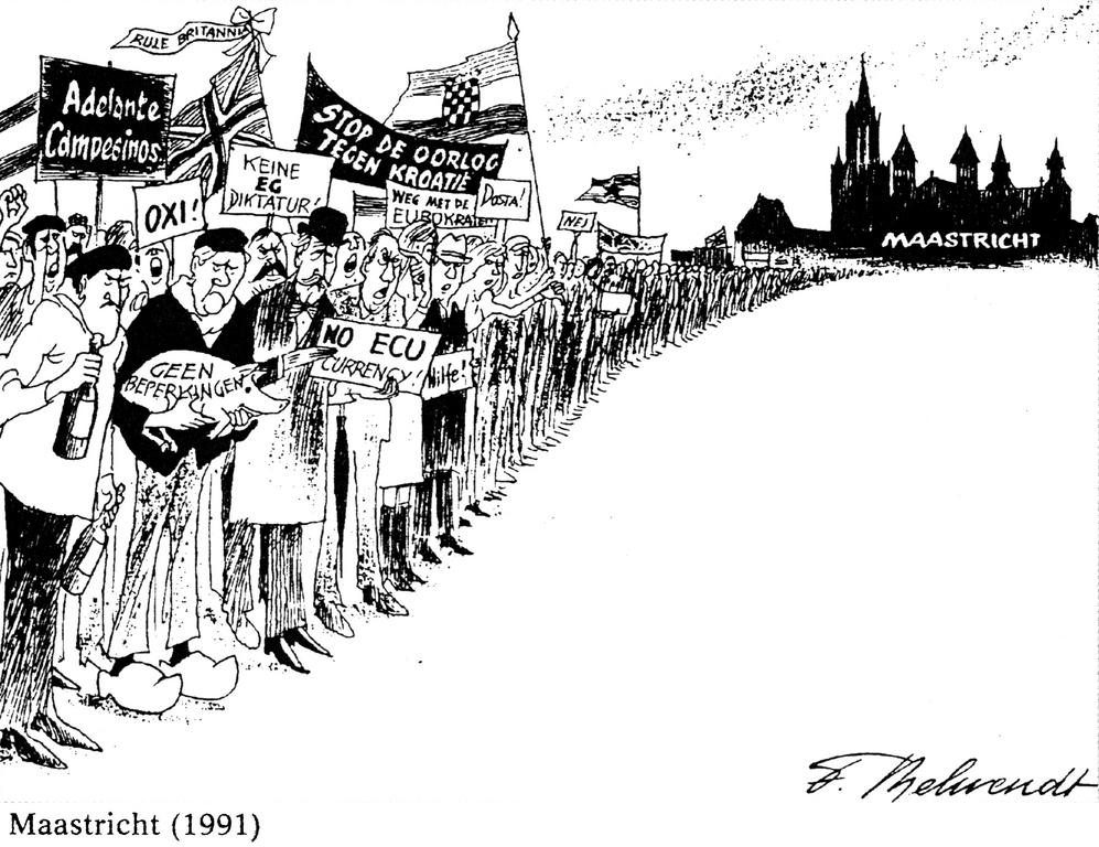 Cartoon by Behrendt on the Maastricht Treaty (1991)