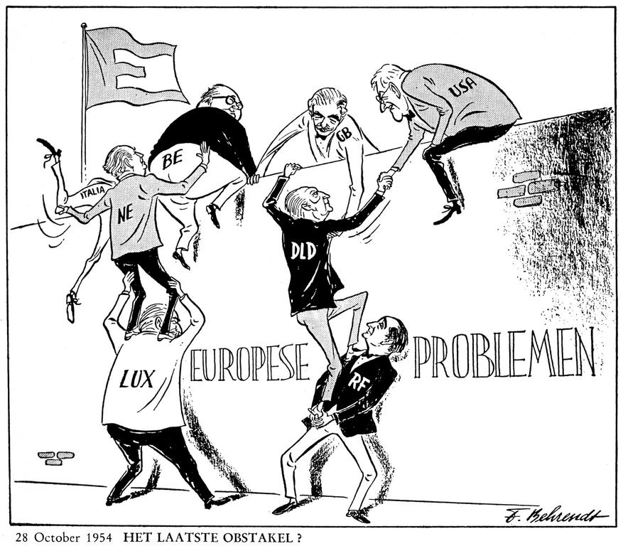 Cartoon by Behrendt on WEU (28 October 1954)