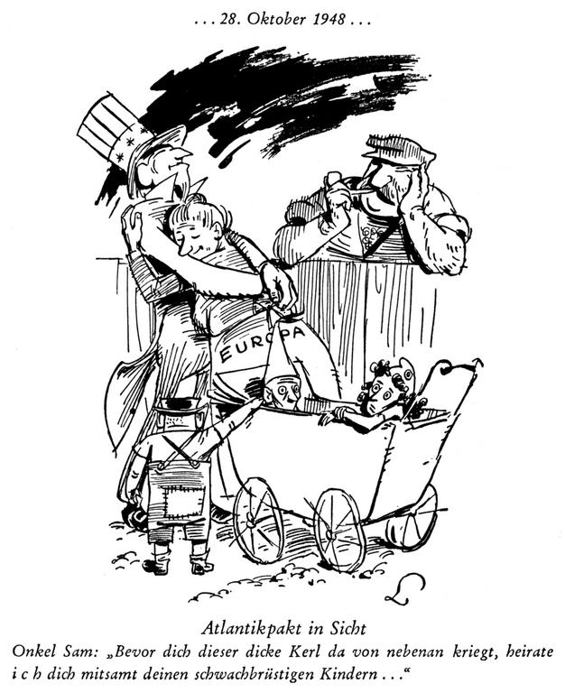 Cartoon by Lang on NATO (30 October 1948)