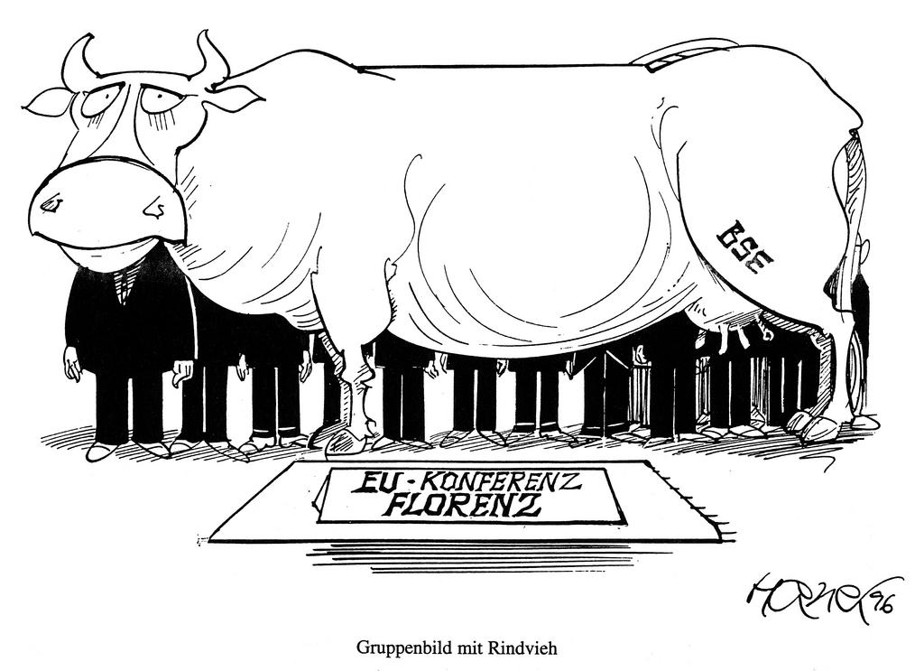 Cartoon by Hanel on the European Council in Florence and the mad cow disease (1996)