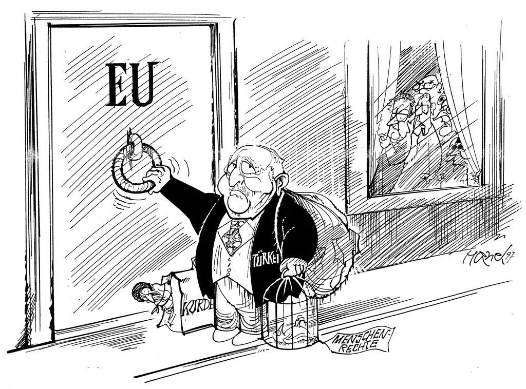 Cartoon by Hanel on the Turkish application for accession to the EU (1997)
