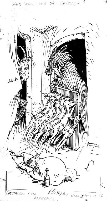 Cartoon by Lang on the Cold War and the Marshall Plan (13 March 1948)