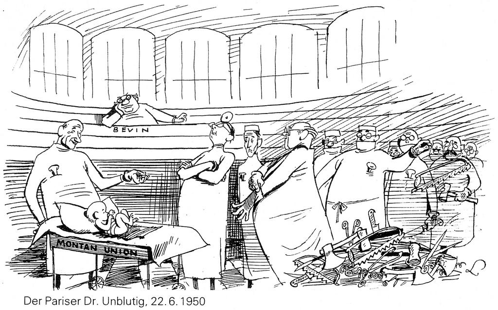 Cartoon by Lang on the issues surrounding the Schuman Plan and the United Kingdom's role (22 June 1950)