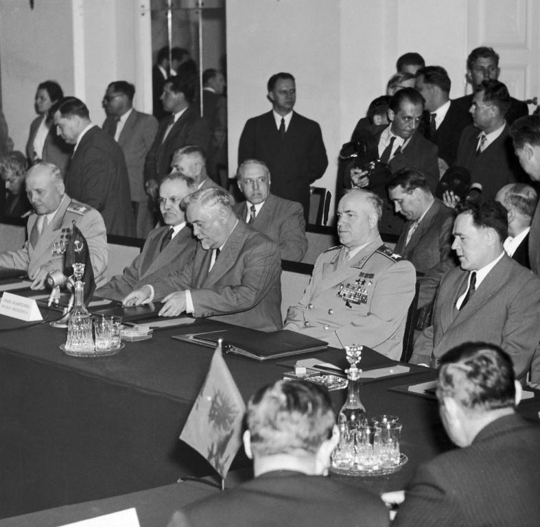 Soviet delegation at the signing of the Warsaw Pact (14 May 1955)