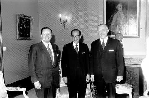 Pierre Werner and Gaston Thorn with Franco-Maria Malfatti (Luxembourg, 15 October 1970)