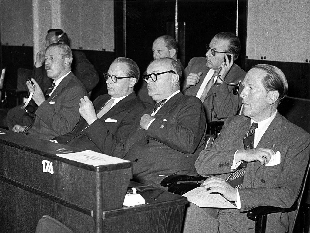Ministers Macmillan, von Brentano, Spaak and Beyen at the Consultative Assembly (Strasbourg, 6 July 1955)