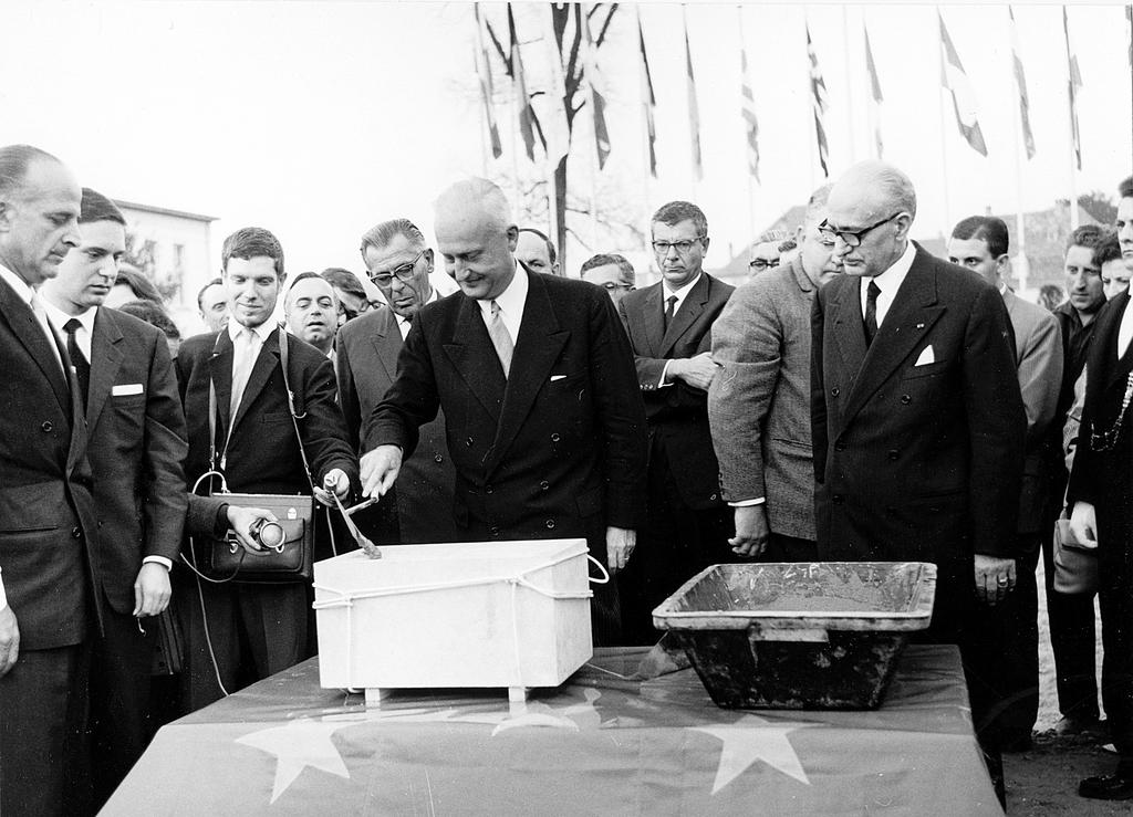 Laying the foundation stone of the 'Palais des Droits de l'Homme' (Strasbourg, 1966)
