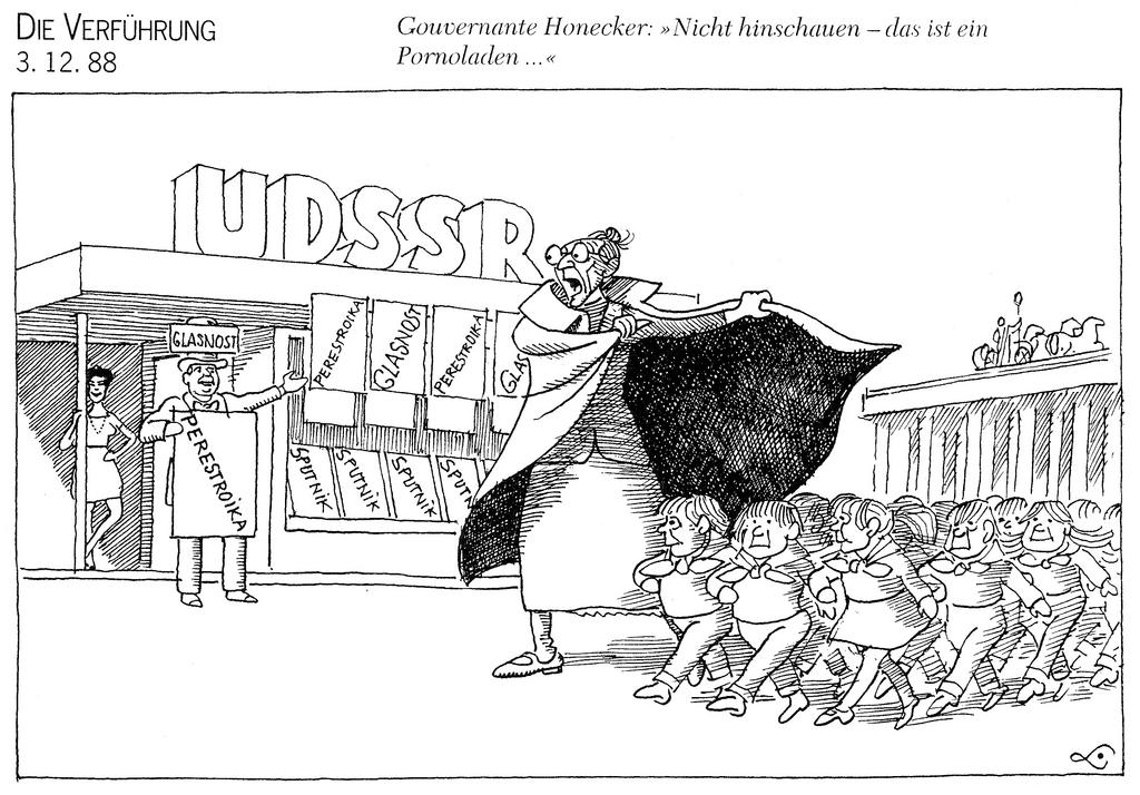 Cartoon by Lang on GDR and perestroika (3 December 1988)