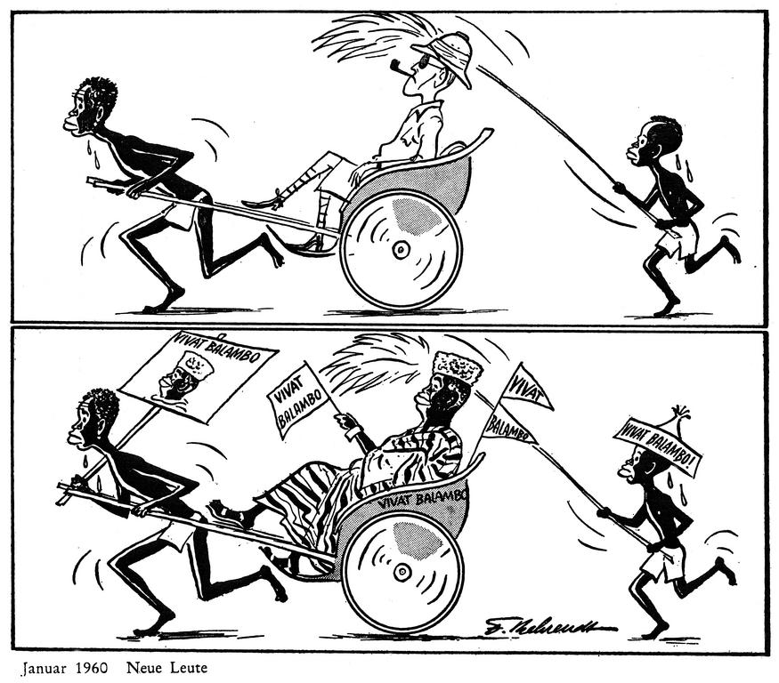 Cartoon by Behrendt on decolonisation in Africa (January 1960)