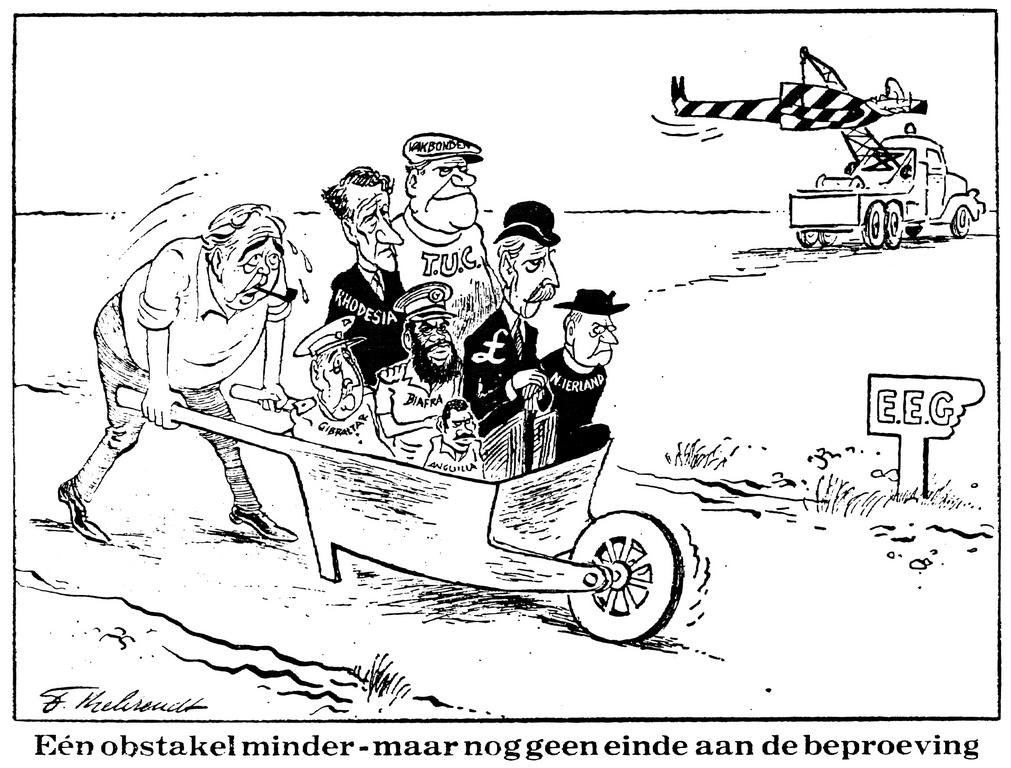 Cartoon by Behrendt on the United Kingdom's membership of the EC (12 June 1969)