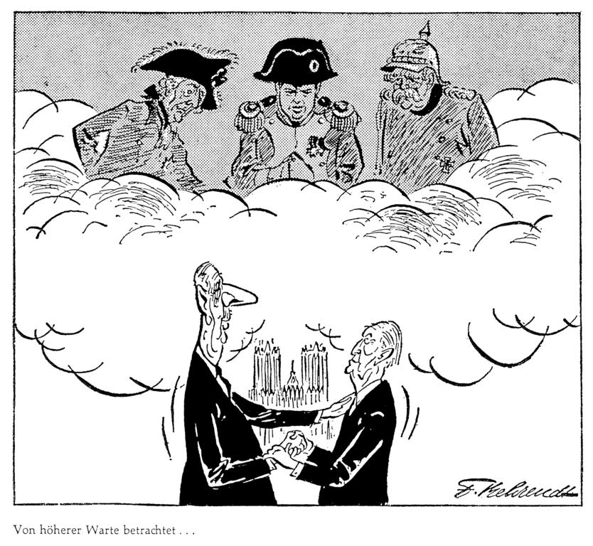 Cartoon by Behrendt on Franco-German rapprochement: The meeting in Reims (9 July 1962)