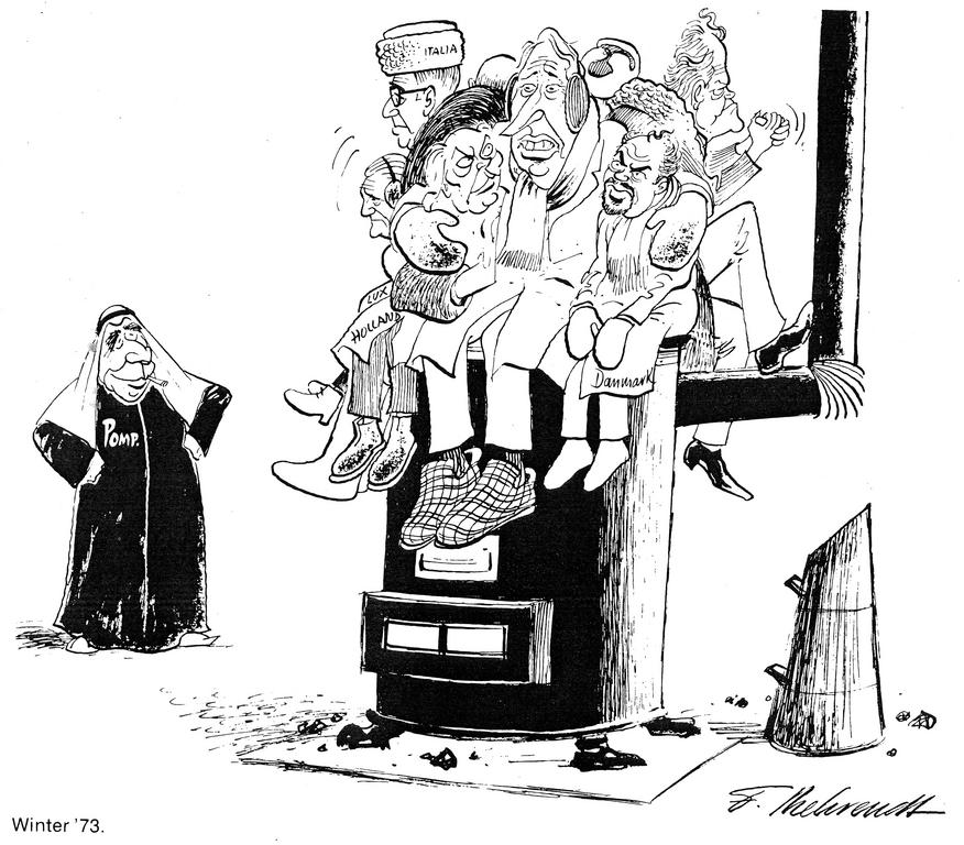 Cartoon by Behrendt on the oil crisis in Europe (1973)