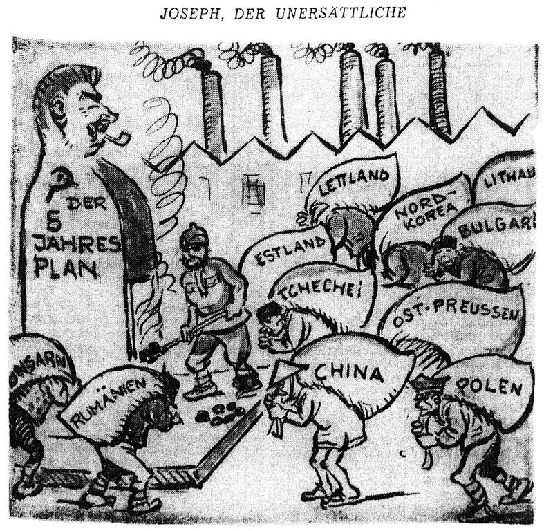 Cartoon by Simon on Soviet economic planning (9 June 1952)