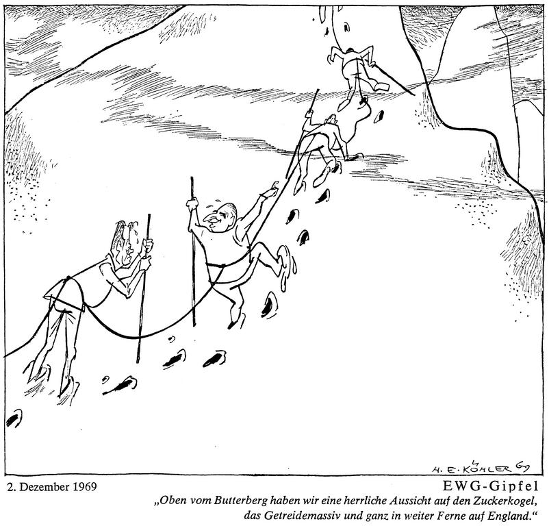 Cartoon by Köhler on the revival of European integration (2 December 1969)