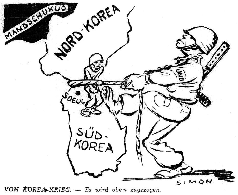 Cartoon by Simon on the Korean War (7 October 1950)