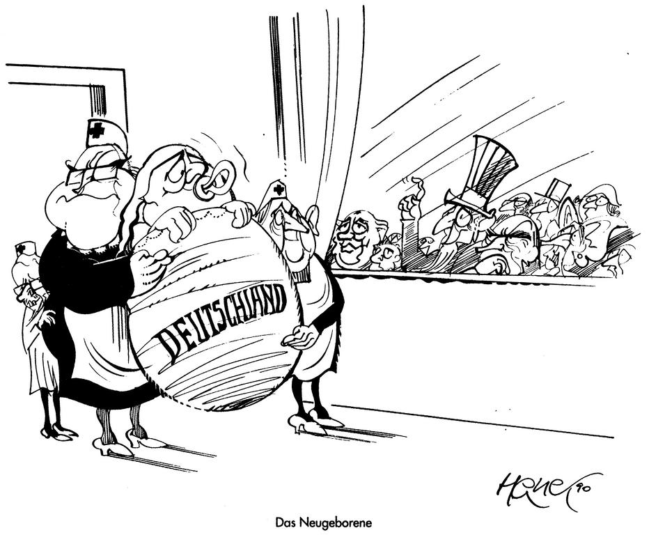 Cartoon by Hanel on German reunification (1990)