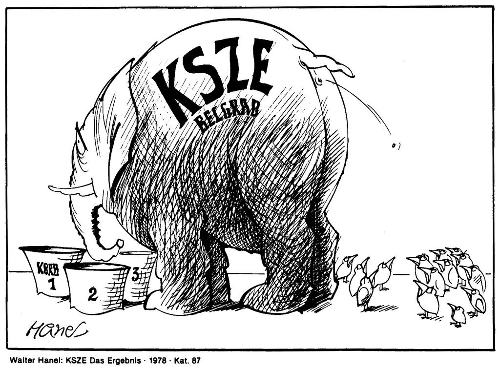 Cartoon by Hanel on the outcome of the CSCE Summit in Belgrade (1978)