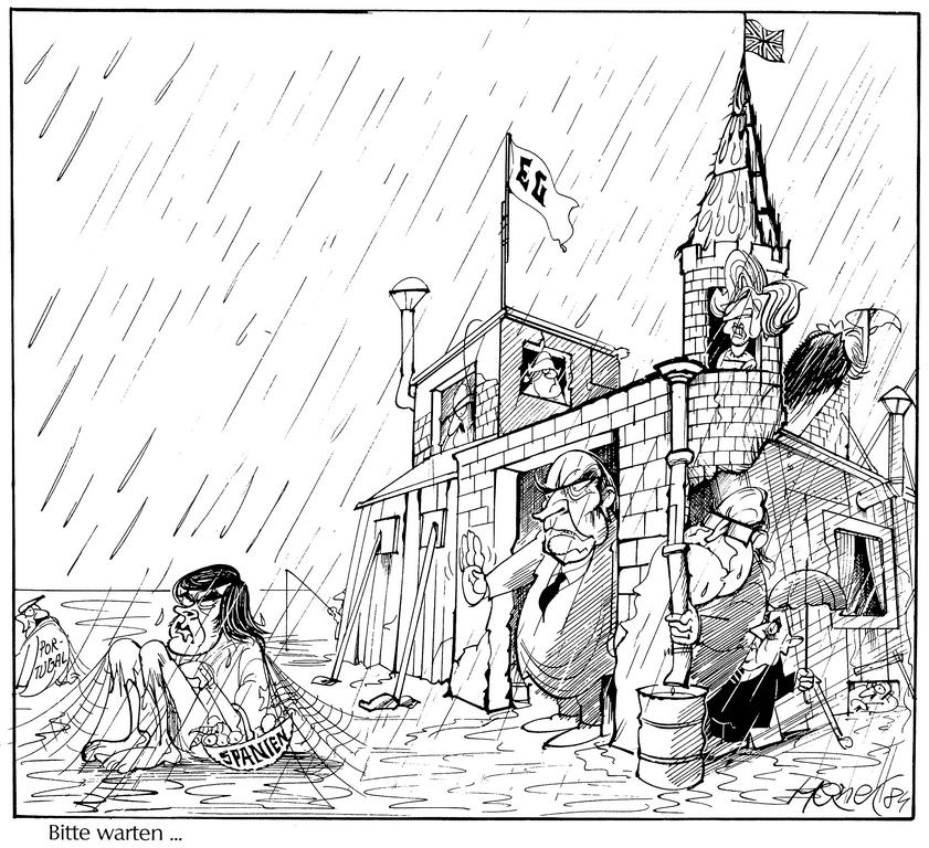 Cartoon by Hanel on the accession of Spain and Portugal to the European Communities (25 February 1984)