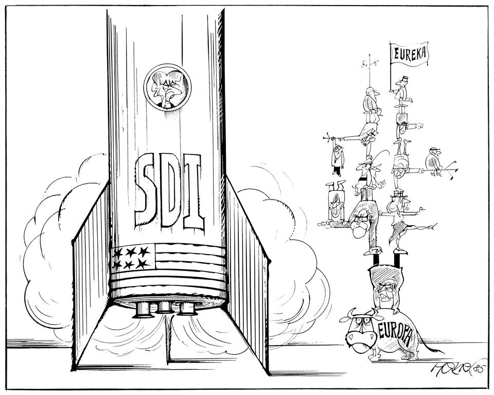 Cartoon by Hanel on technological cooperation in Europe (1985)