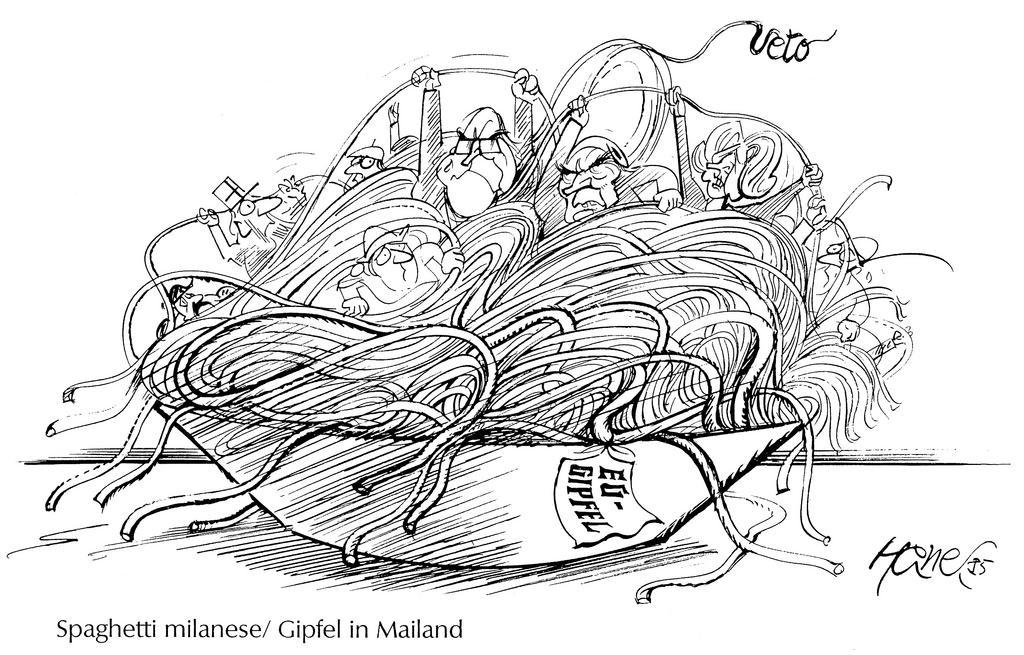 Cartoon by Hanel on the Milan European Council (29 June 1985)