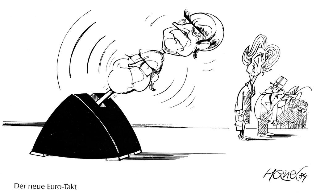 Cartoon by Hanel on the influence of the Franco-German duo at the Fontainebleau European Council (1984)