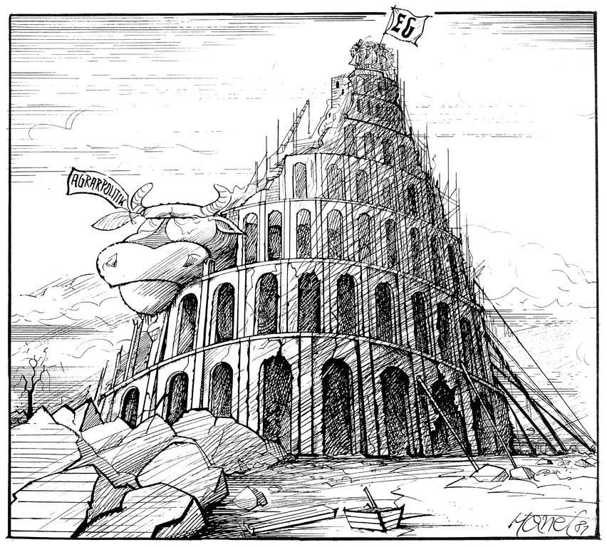 Cartoon by Hanel on the difficulties involved in reforming the CAP (1981)