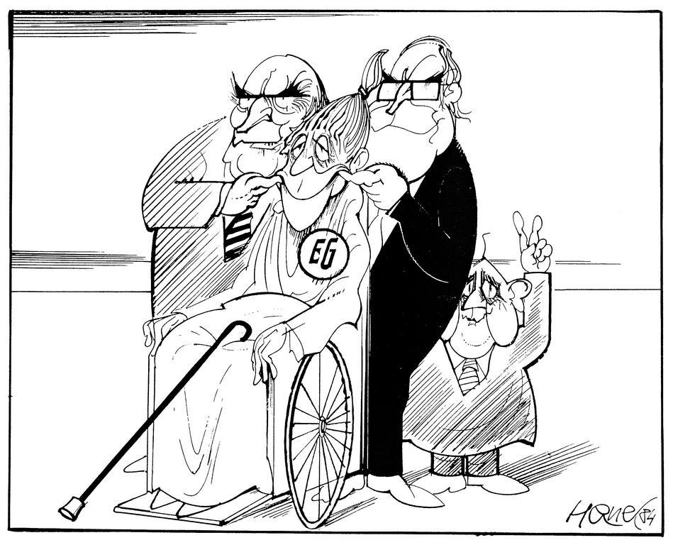 Cartoon by Hanel on Franco-German cooperation to revive the European integration process (29 March 1984)