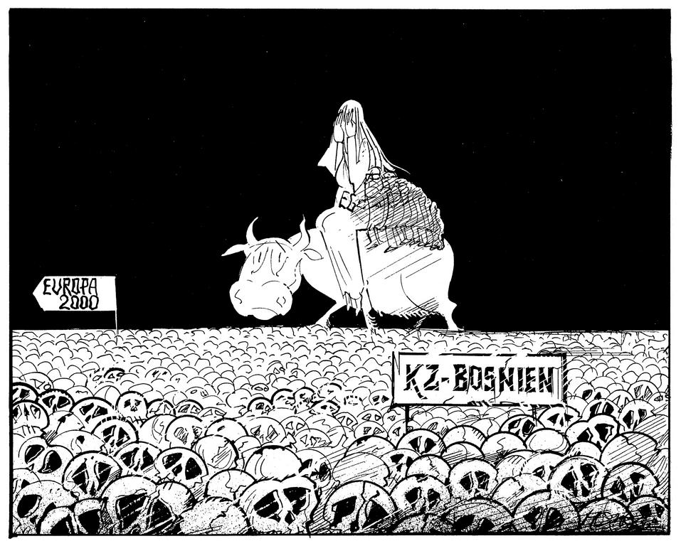 Cartoon by Hanel on the European Community and the war in Bosnia (1993)