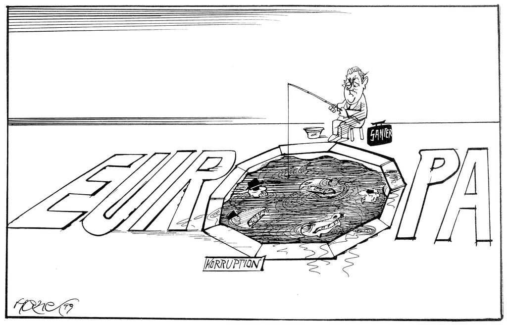 Cartoon by Hanel on the European Commission crisis (1999)
