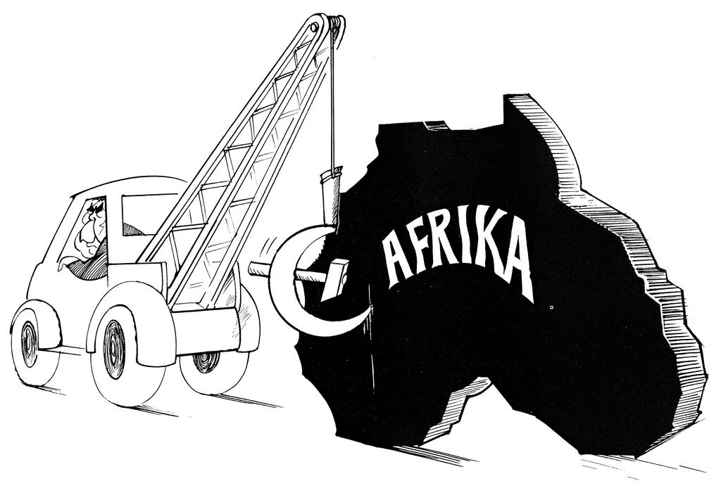 Cartoon by Hanel on Soviet policy in Africa (22 April 1977)