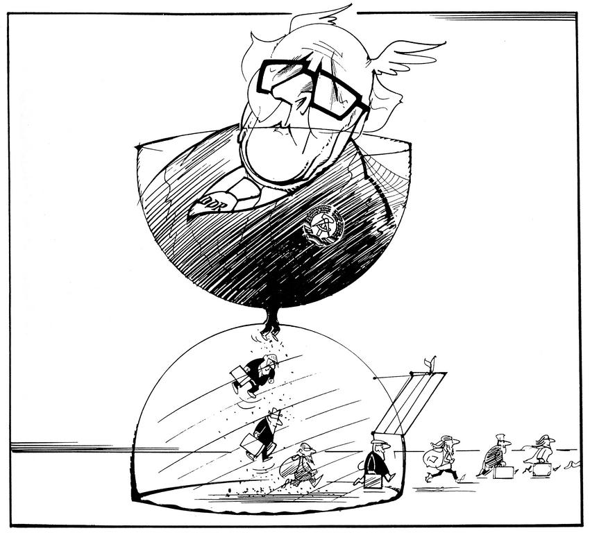 Cartoon by Hanel on the collapse of the Communist regime in the GDR (1989)