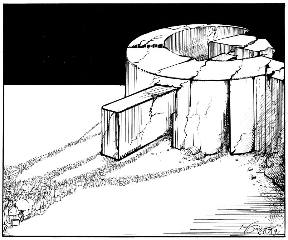 Cartoon by Hanel on the collapse of the Communist bloc (1991)