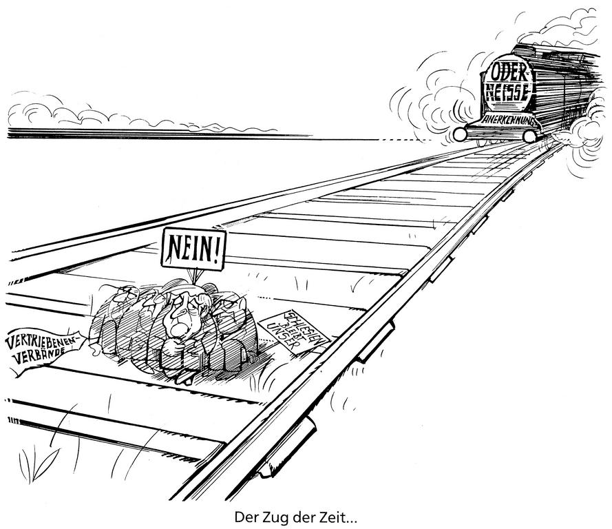 Cartoon by Hanel on the Oder-Neisse Line (1990)