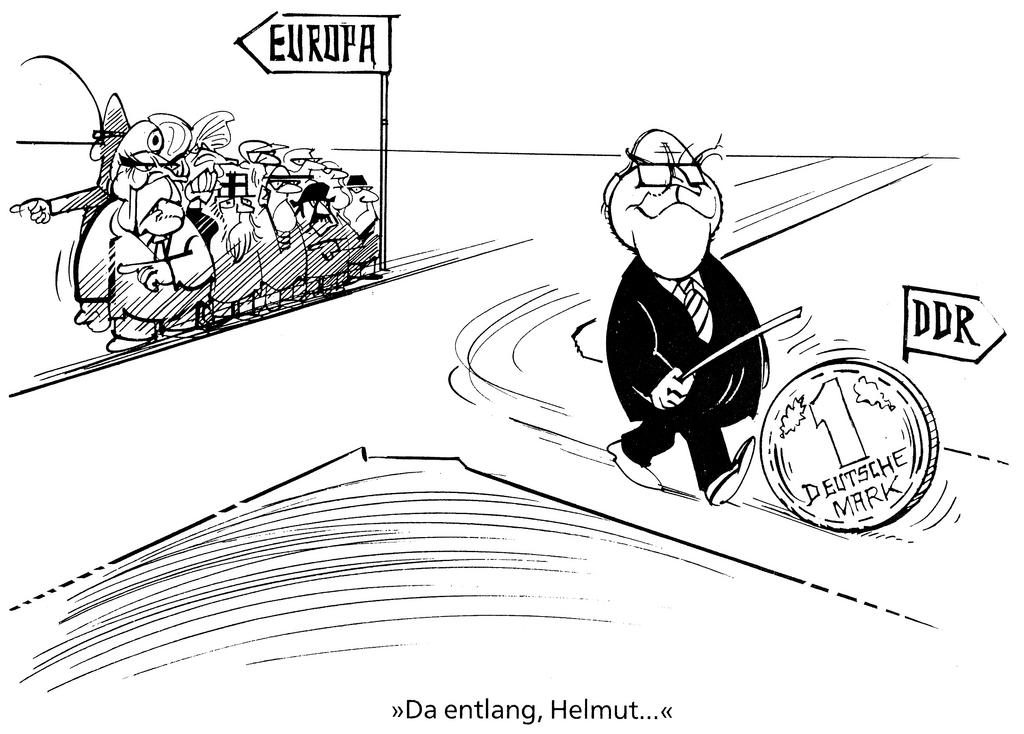 Cartoon by Hanel on monetary policy in the former GDR (1990)