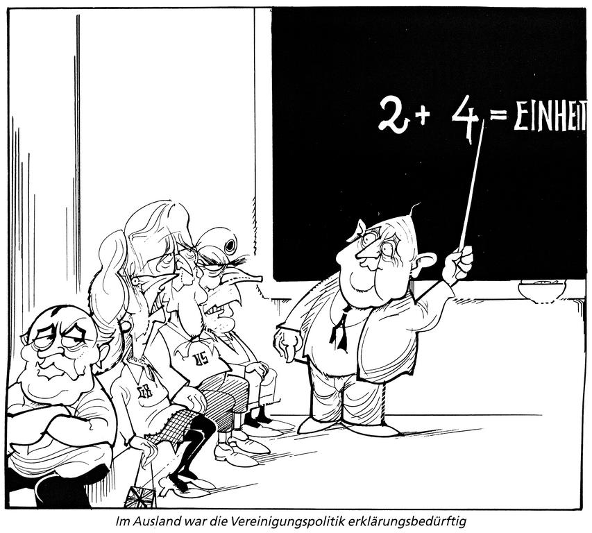 Cartoon by Hanel on the '2 + 4' Conference on German reunification (1990)