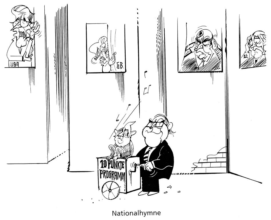 Cartoon by Hanel on the 10-point programme for the reunification of Germany (1989)