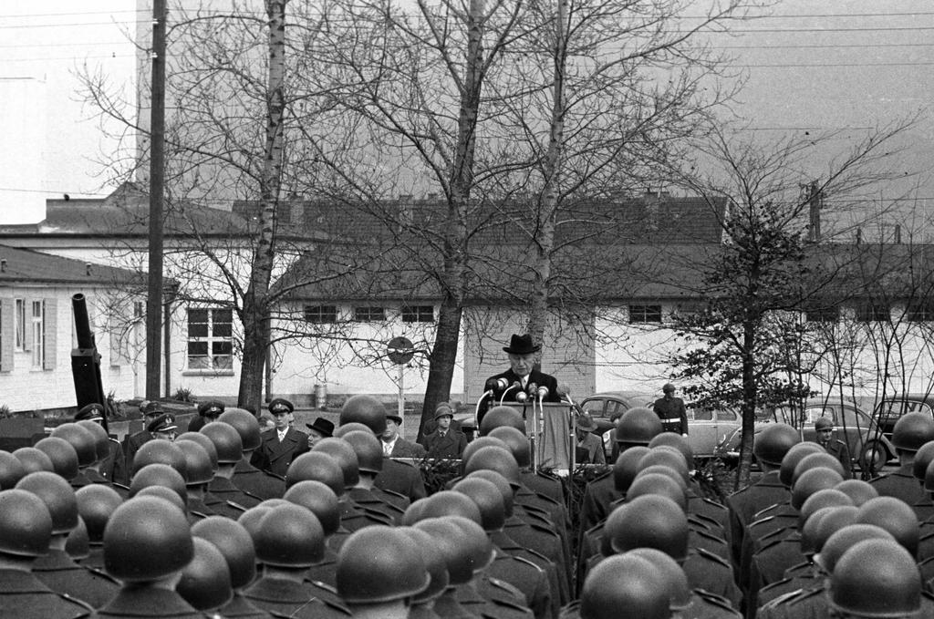 Konrad Adenauer addressing the first volunteers of the FRG army (Andernach, 20 January 1956)