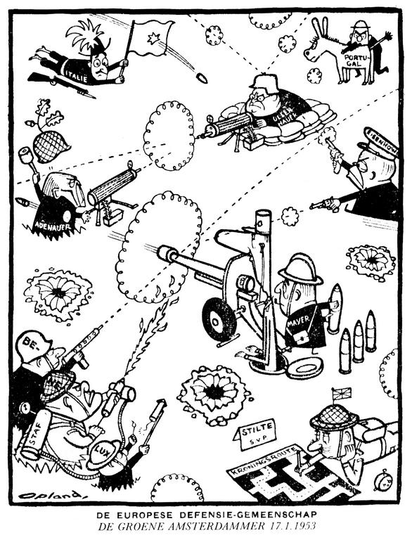 Cartoon by Opland on the EDC (17 January 1953)