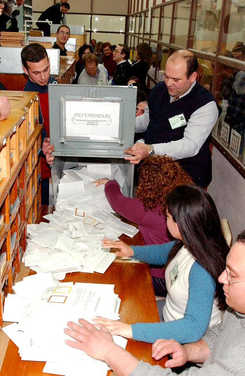 Counting of the votes in Malta's accession referendum (9 March 2003)