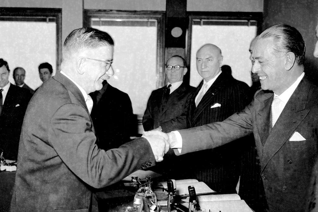 Leopold Figl and Gaetano Martino (Strasbourg, 16 April 1956)