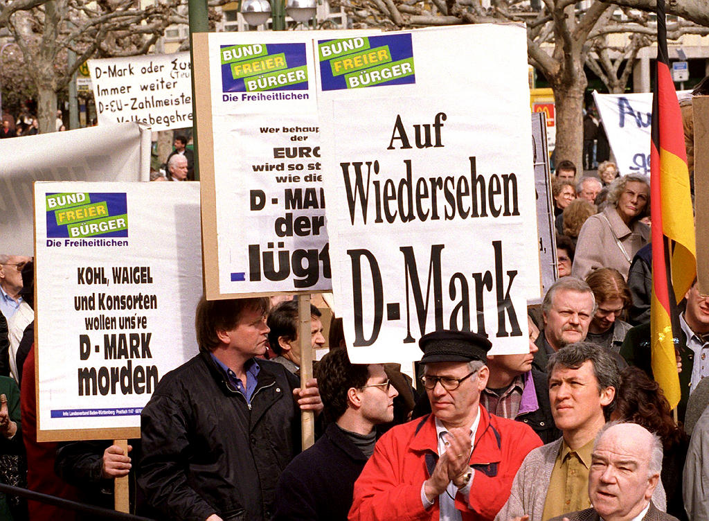 Demonstration against the introduction of the euro in Germany (Frankfurt, 28 March 1998)