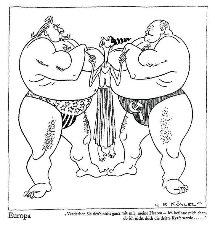 Cartoon by Köhler on the international position of the EEC (1957)