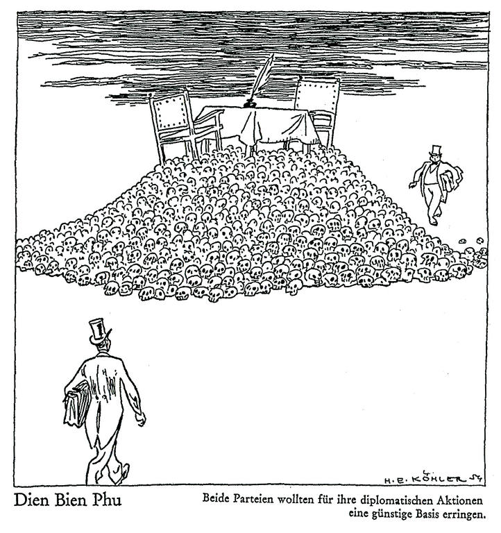 Cartoon by Köhler on the war in Indo-China (1954)