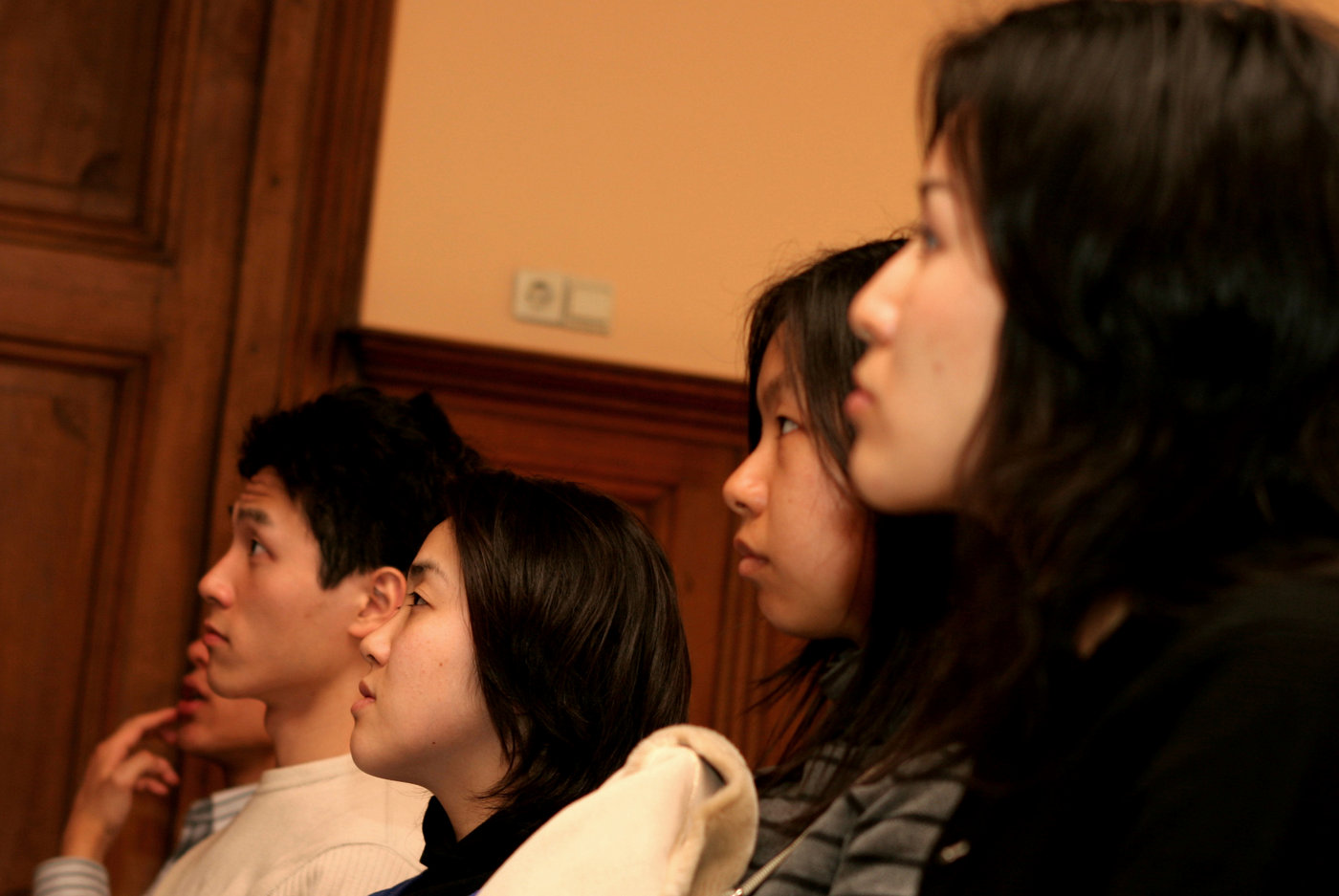 Japanese students attend an ENA presentation