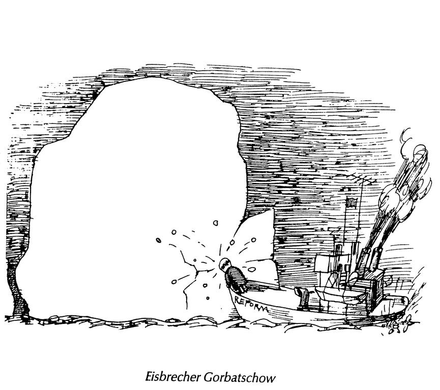 Cartoon by Murschetz on Gorbachev's reforms in the Soviet Union