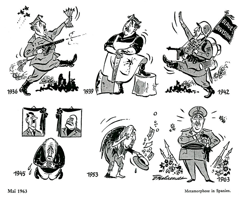 Cartoon by Behrendt on the political evolution of Spain (May 1963)